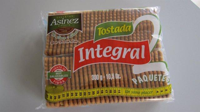 Paquete de galletas producido por la empresa Asinez