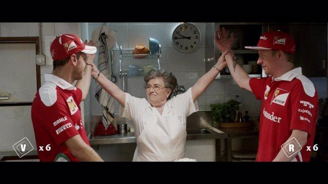 Vettel y Raikkonen se retan cocinando tortellinis