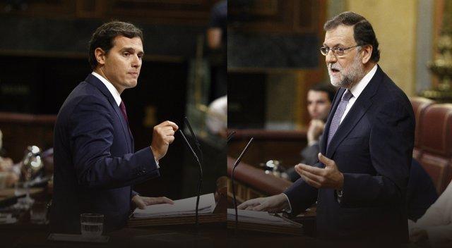 Rivera y Rajoy en el debate de investidura en el Congreso