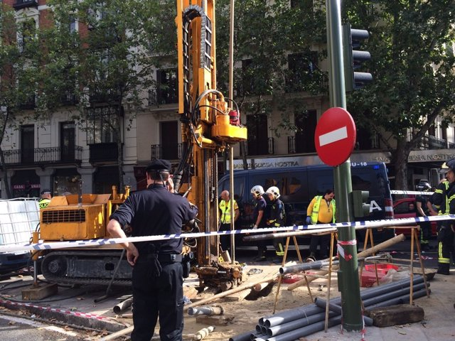 Accidente laboral en la glorieta de Bilbao