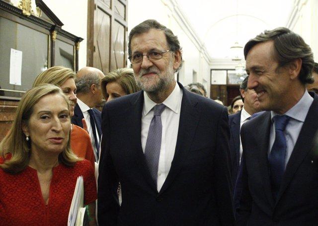 Mariano Rajoy, Ana Pastor y Rafael Hernando