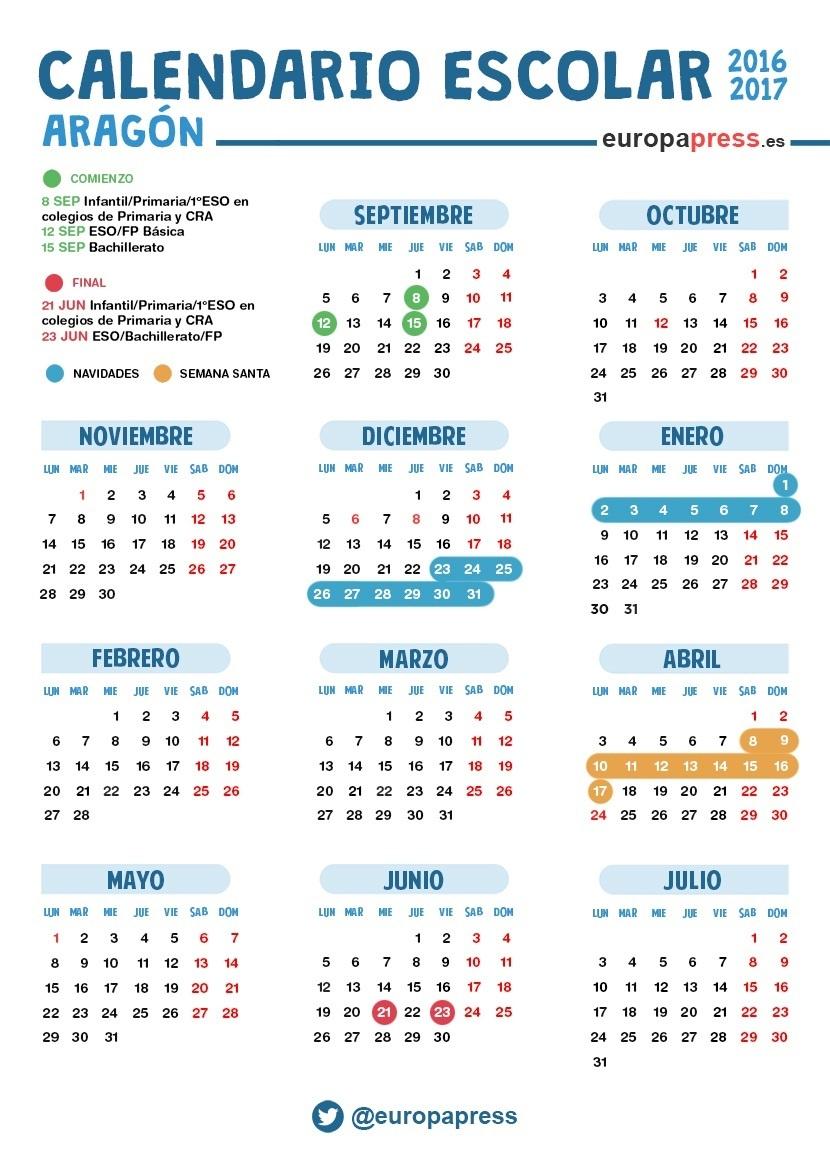 Aragon Calendario Escolar.Calendario Escolar 2016 2017 En Aragon