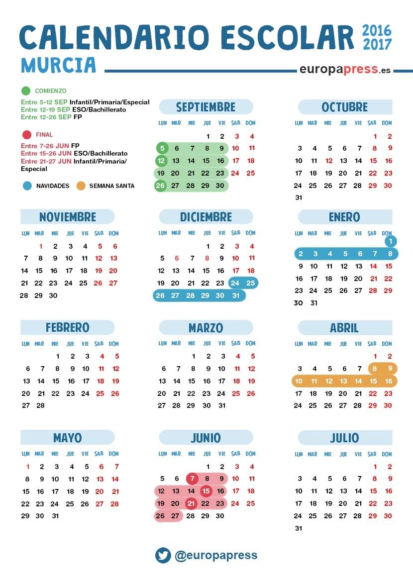 Calendario Escolar Murcia 2019.Calendario Escolar 2016 2017 En Murcia Navidad Semana Santa Y Vacaciones De Verano