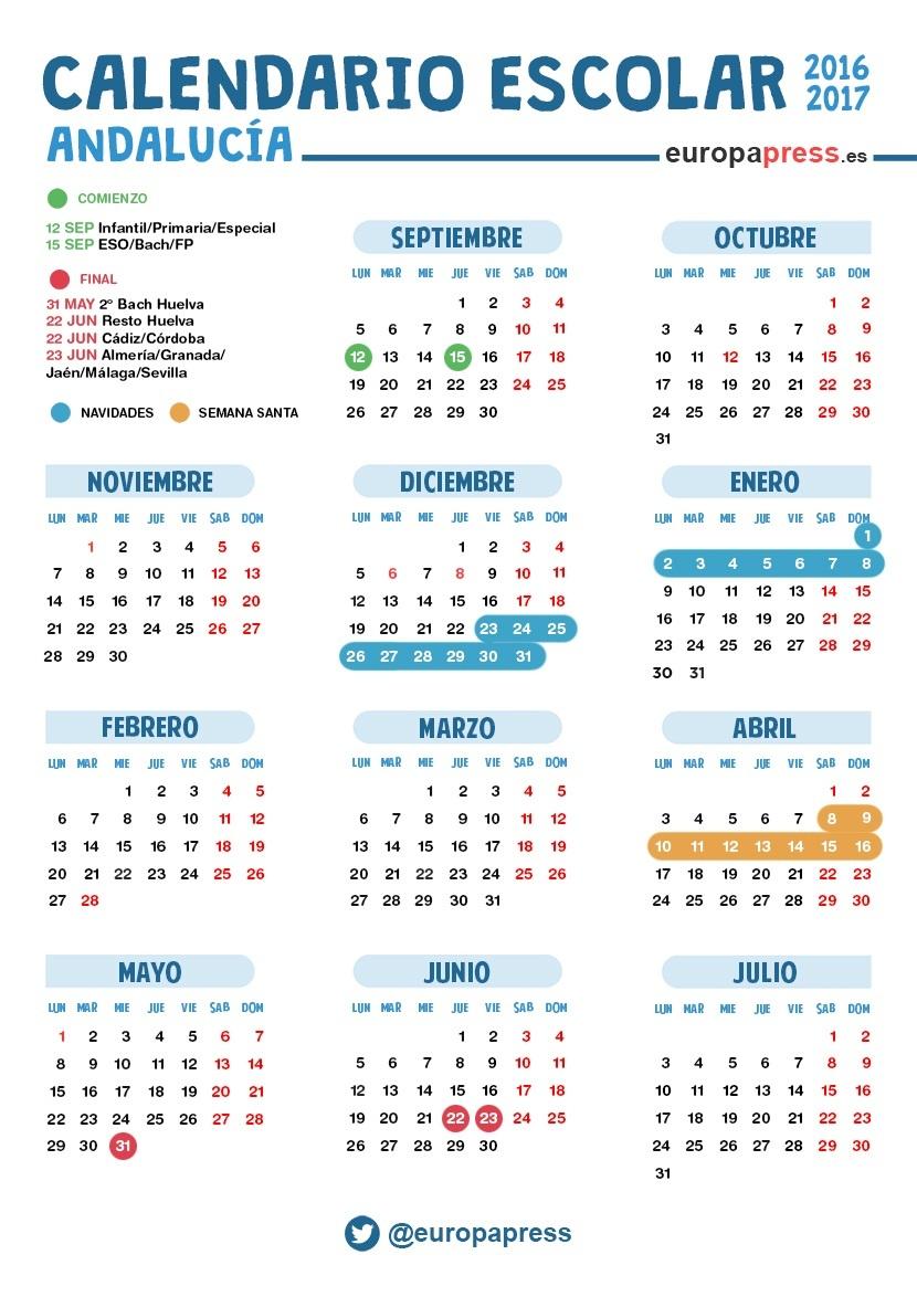 Calendario escolar 2016 2017 en andaluc a navidad semana for Festivos alicante 2017
