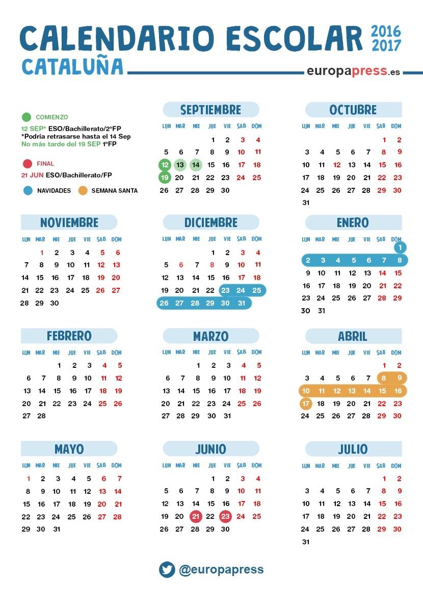 Calendario Escolar Barcelona.Calendario Escolar 2016 2017 En Catalunya Navidad Semana Santa Y Vacaciones De Verano