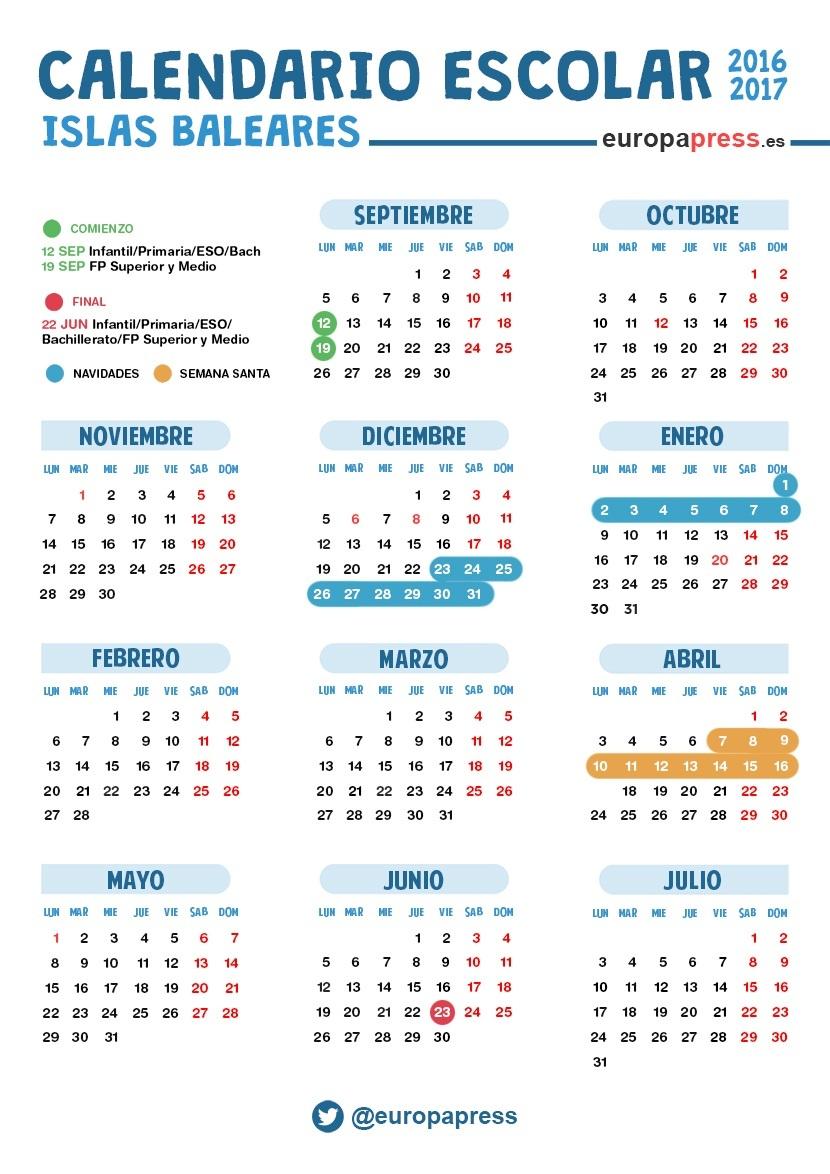 Calendario Escolar 2016 2017 En Baleares Navidad Semana