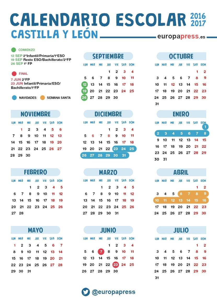 Calendario Escolar Valladolid.Calendario Escolar 2016 2017 En Castilla Y Leon