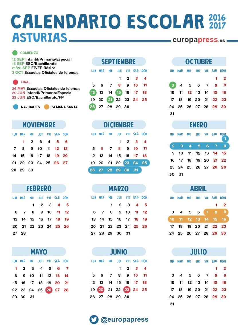 Calendario Escolar Asturias.Calendario Escolar 2016 2017 En Asturias Navidad Semana Santa Y Vacaciones De Verano