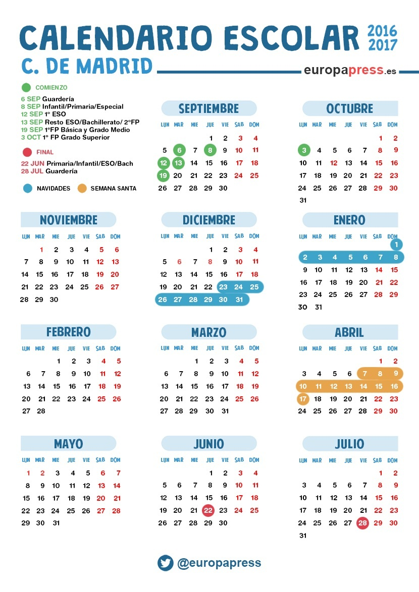 Calendario Escolar Madrid.Calendario Escolar 2016 2017 En Madrid Navidad Semana Santa Y Vacaciones De Verano