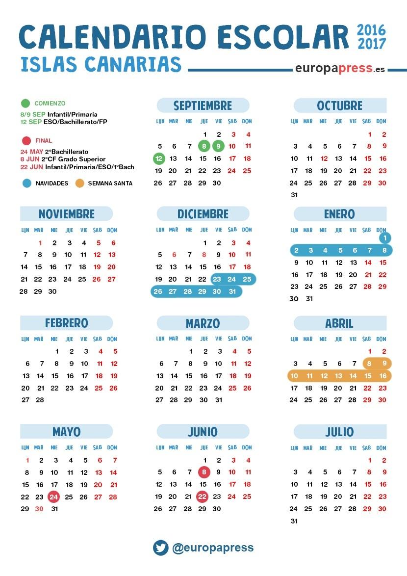 Calendario Escolar 2016 2017 En Canarias Navidad Semana