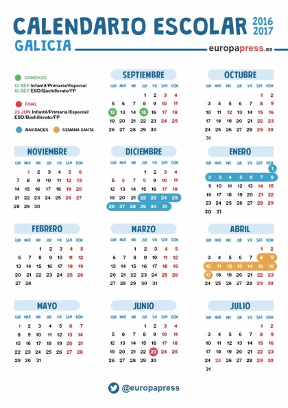 Calendario Escolar 2016 2017 En Galicia Navidad Semana Santa Y Vacaciones De Verano