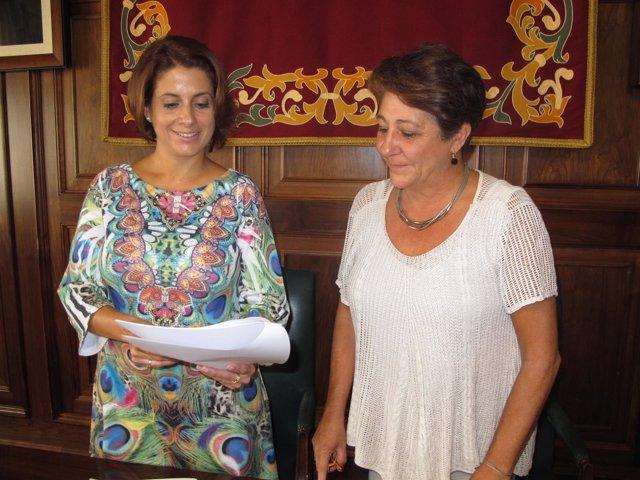 Alcaldesa de Teruel, Emma Buj y gerente Fundación Amantes Rosa López Juderías
