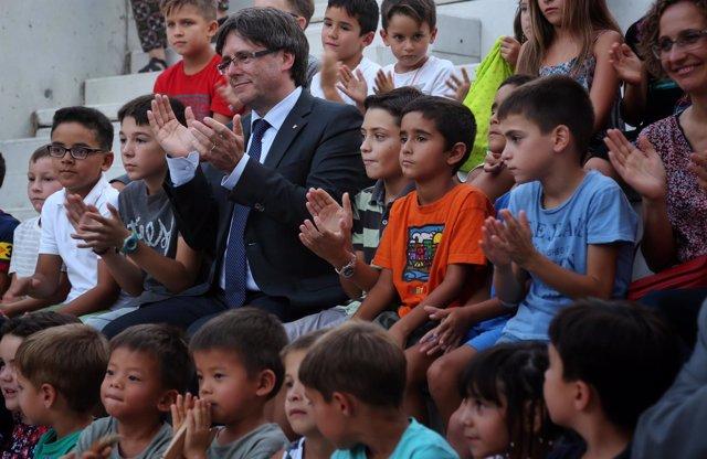 Puigdemont en la inauguración de la escuela El Timó