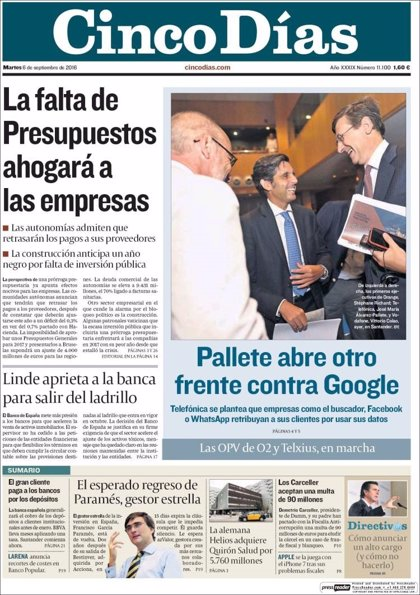 Las portadas de los periódicos económicos de hoy, martes 6 de septiembre