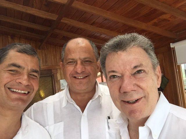 Los presidentes de Ecuador, Costa Rica y Colombia