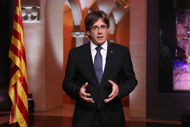 Carles Puigdemont durante el mensaje instutucional de la Diada
