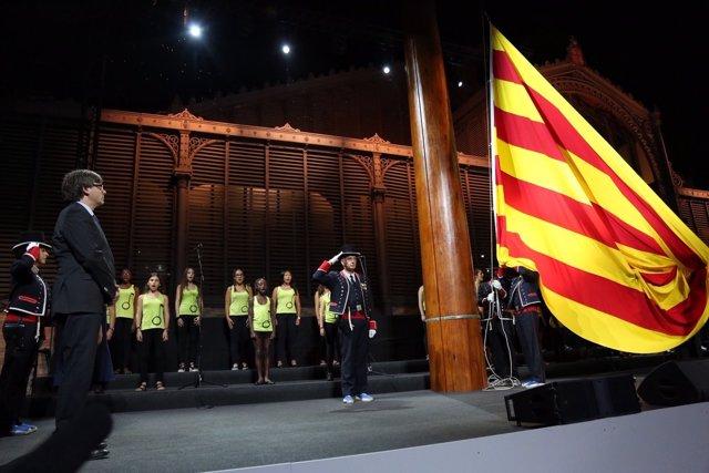 Pte.C.Puigdemont en el acto institucional de la Diada 2016