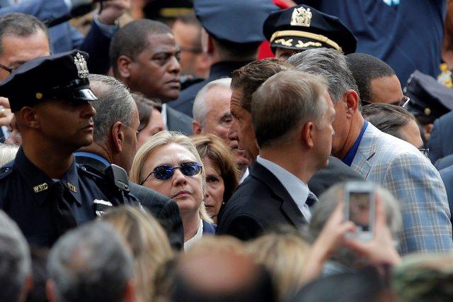 La candidata presidencial demócrata, Hillary Clinton, en la ceremonia del 11-S