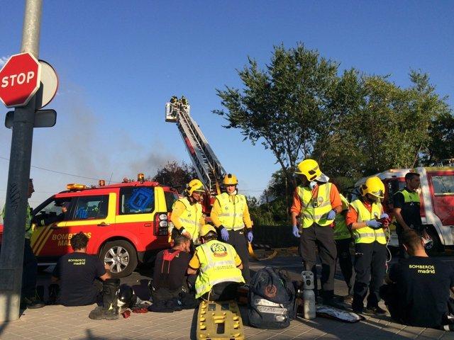 Incendio en el distrito de Fuencarral