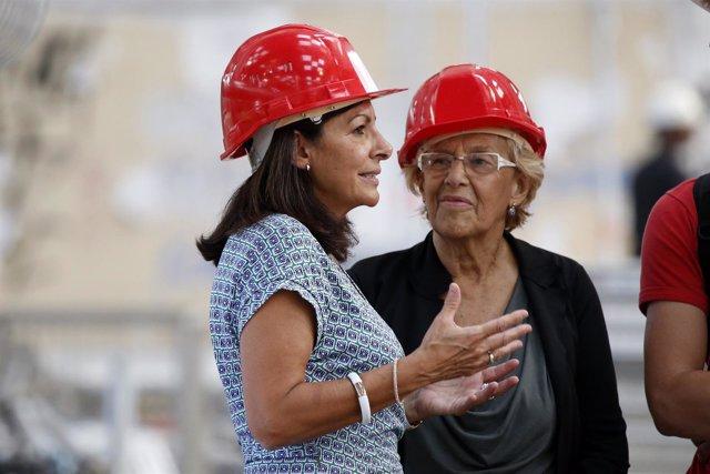 Las alcaldesas de París, Anne Hidalgo, y Madrid, Manuela Carmena