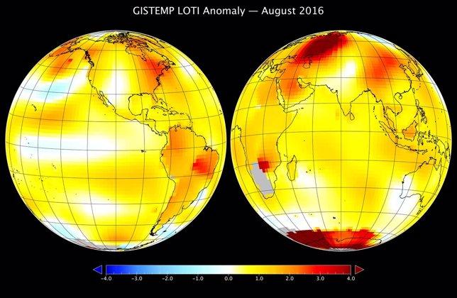 Anomalía de temperatura en agosto de 2016