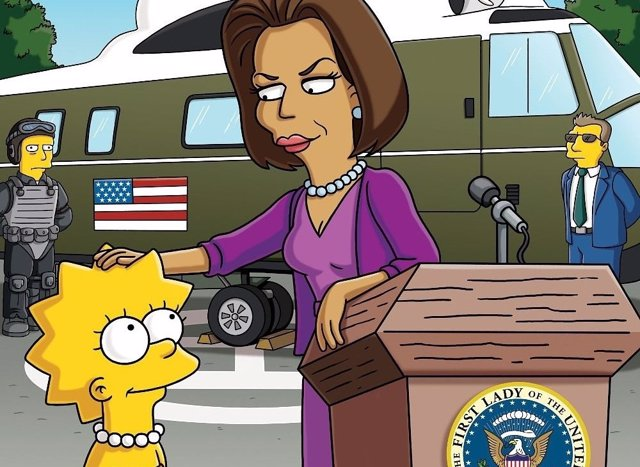 Lisa Simpson con Michelle Obama