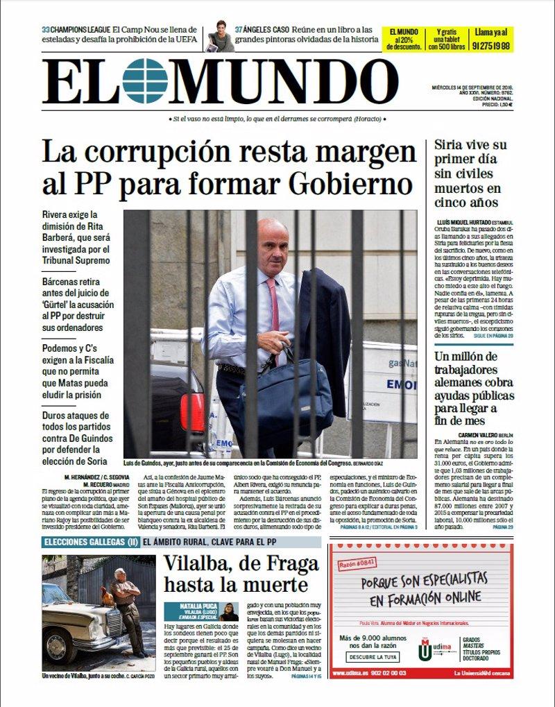 Las portadas de los peri dicos de hoy mi rcoles 14 de septiembre de 2016 - Se cobra la pension el mes de fallecimiento ...