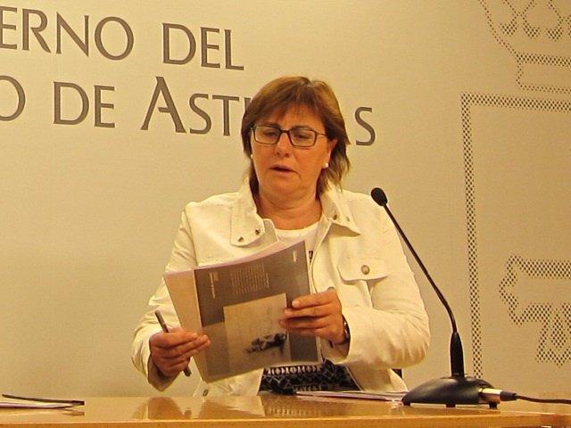 La consejera de Servicios y Derechos Sociales, Pilar Varela, en rueda de prensa