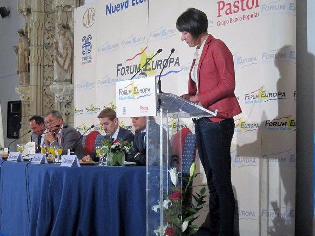 Ana Pontón, candidata del BNG, en el desayuno informativo de Fórum Europa