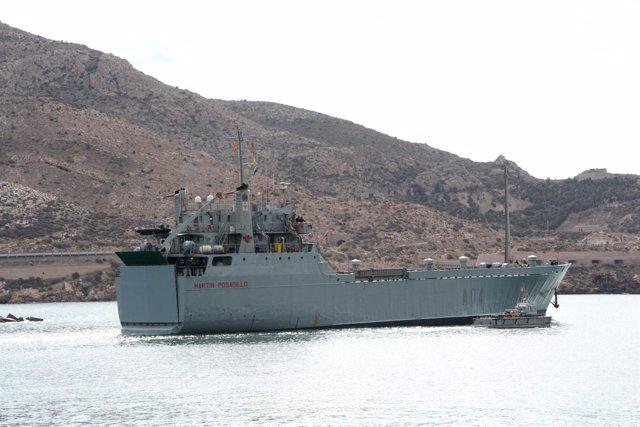 Imagen del buque zarpando de Cartagena