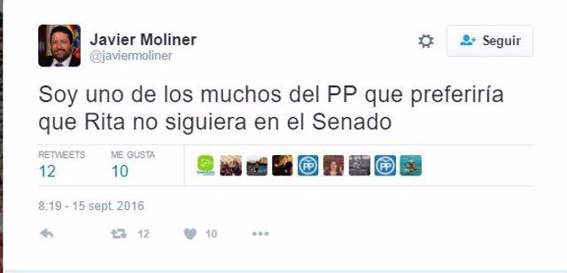 Imagen del tuit de Javier Moliner