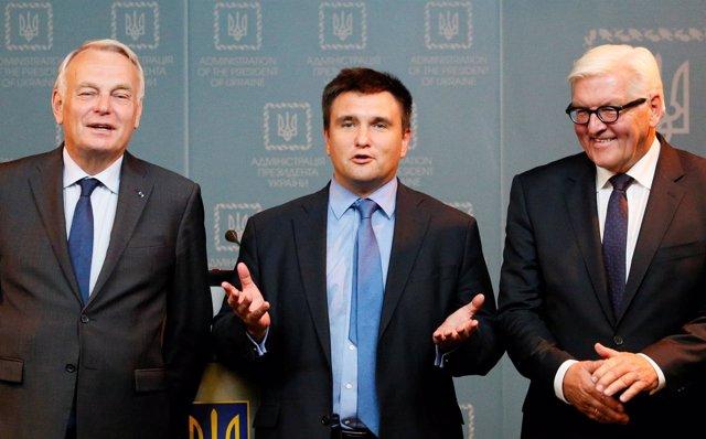 Los ministros de Exteriores de Francia, Alemania y Ucrania