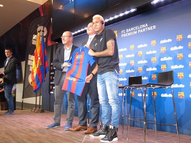 Neymar, jugador del FC Barcelona en un acto publicitario