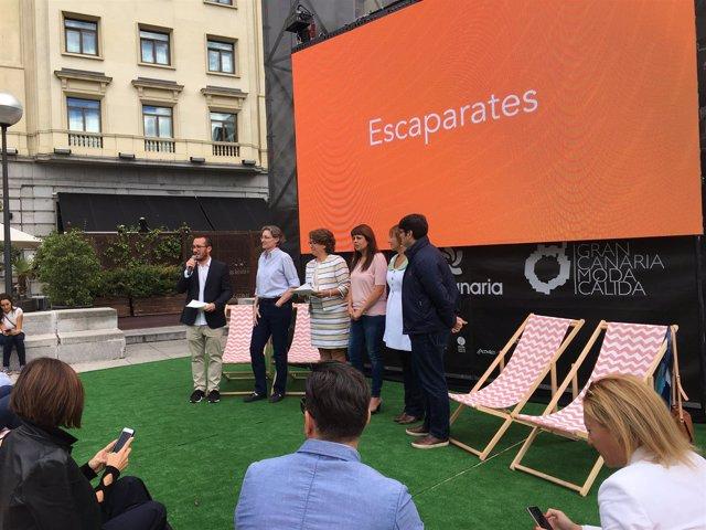 Marta Higueras durante el acto de la inauguración de la pantalla