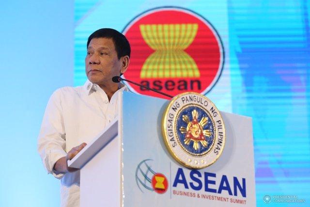 Rodrigo Duterte, presidente de Filipinas, en la cumbre de ASEAN
