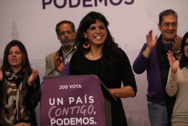 Teresa Rodríguez, en el cierre de campaña en Algeciras