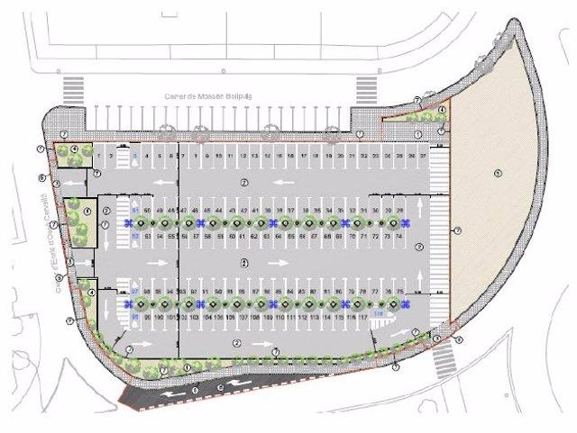 Plano de las obras del aparcamiento