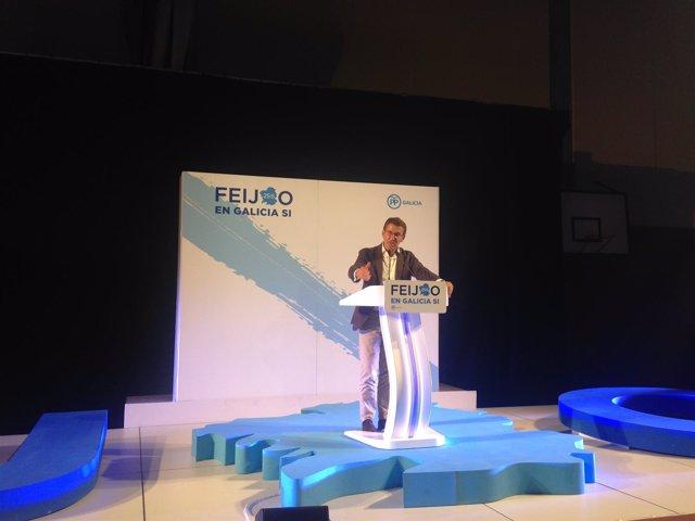 Alberto Núñez Feijóo, candidato del PP, en Ribeira 25S