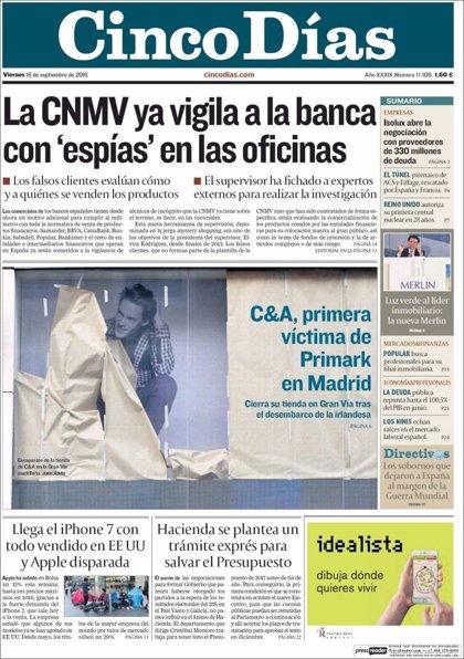 Las portadas de los periódicos económicos de hoy, viernes 16 de septiembre