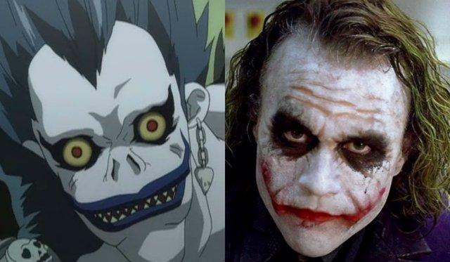 Ryuk (Death Note) y Heath Ledger como El Joker en El Caballero Oscuro