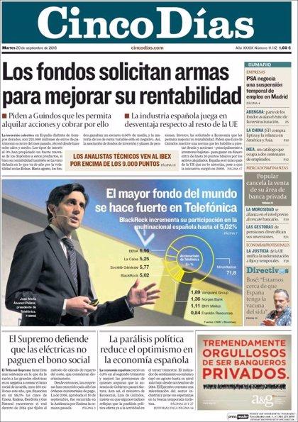 Las portadas de los periódicos económicos de hoy, martes 20 de septiembre