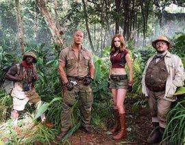 Primera imagen de la nueva Jumanji, con Dwyane Johnson, Karen Gillan, Jack Black y Kevin Hart