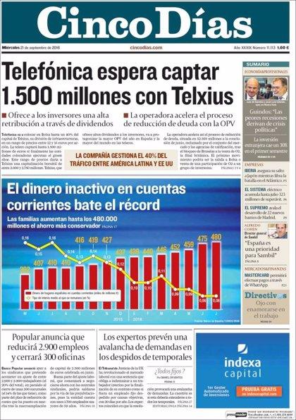 Las portadas de los periódicos económicos de hoy, miércoles 21 de septiembre