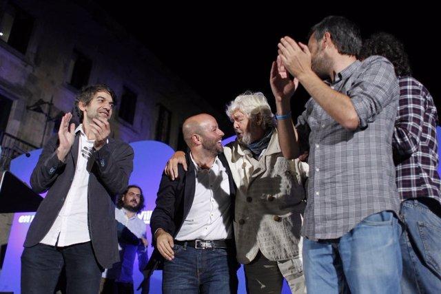 Luís Villares en el cierre del mitin en Santiago