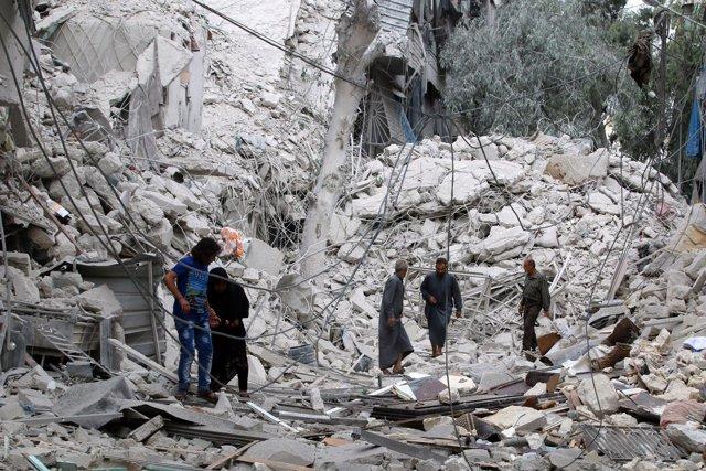 Uno de los últimos lugares bombardeados en Alepo