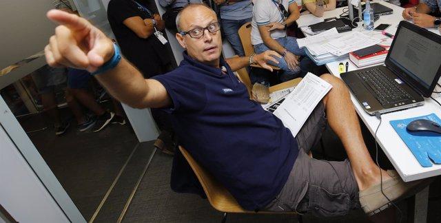 El periodista Ernest Riveras en la Motorland de Aragón