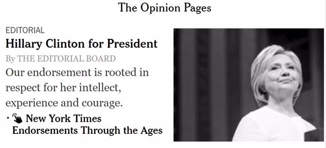 Editorial de 'The New York Times' en apoyo a Hillary Clinton