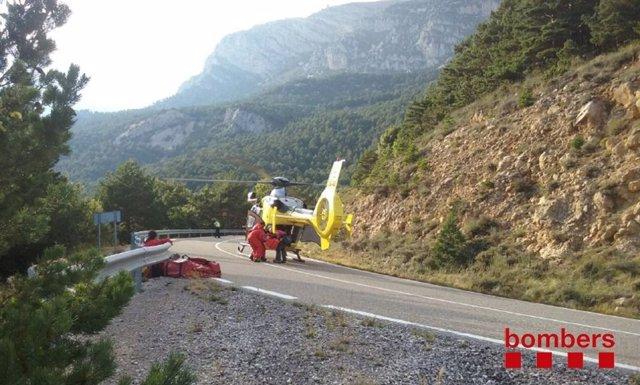 Rescate en helicóptero en Guixers (Lleida)