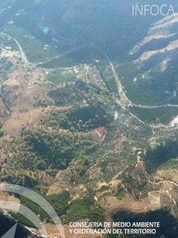 Incendio forestal en Jete (Granada)