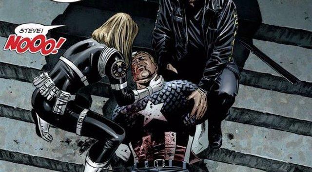 Imagen del cómic 'Civil War' con la muerte del Capitán América
